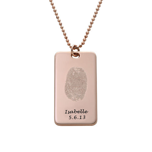 Fingerprint Dog Tag Necklace with 18ct Rose Gold plating