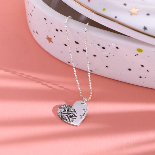 Fingerprint Heart Necklace in Sterling Silver - 1