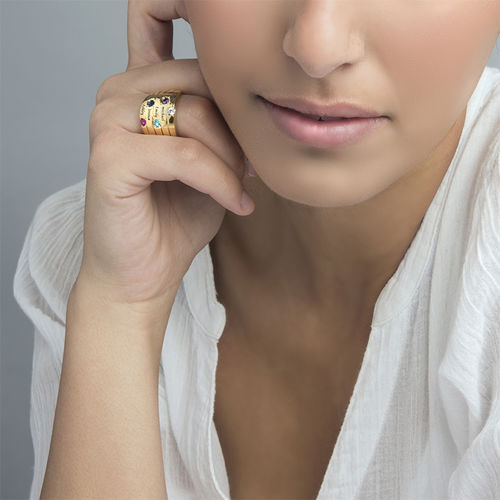 Five Stone Mothers Ring with Gold Plating - Large Size - 1