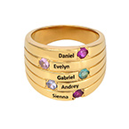 Five Stone Mothers Ring with Gold Plating - Large Size