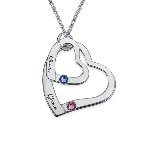 Floating Heart in Heart Necklace with Birthstones