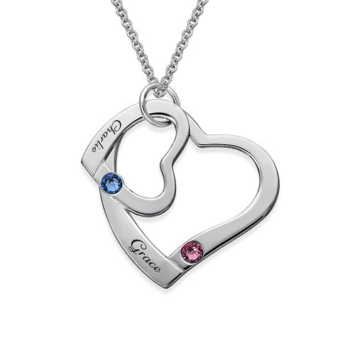 Floating Heart in Heart Necklace with Birthstones - 1