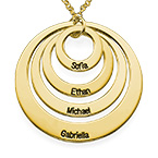 Four Open Circles Necklace with Engraving in Gold Plating