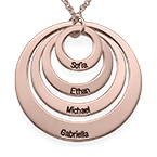 Four Open Circles Necklace with Engraving in Rose Gold Plating