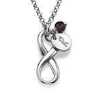 Crystal Birthstone on Vertical Infinity Pendant