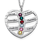 Gift for Mum - Engraved Heart Necklace with Birthstones