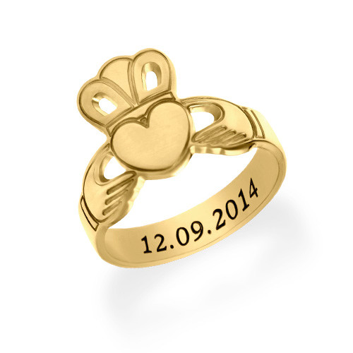 Gold Plated Claddagh Ring with Engraving