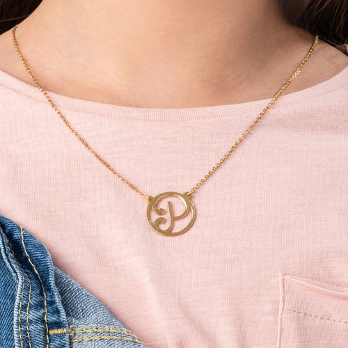 Gold Plated Cut Out Initial Necklace - 2