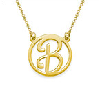 Gold Plated Cut Out Initial Necklace