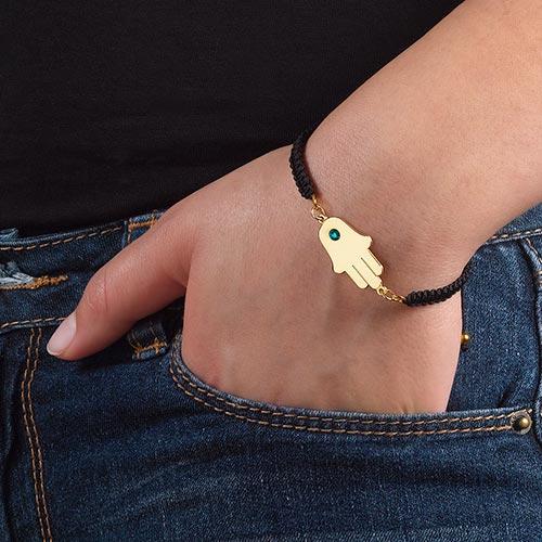 Gold Plated Hamsa Bracelet with Birthstone - 2