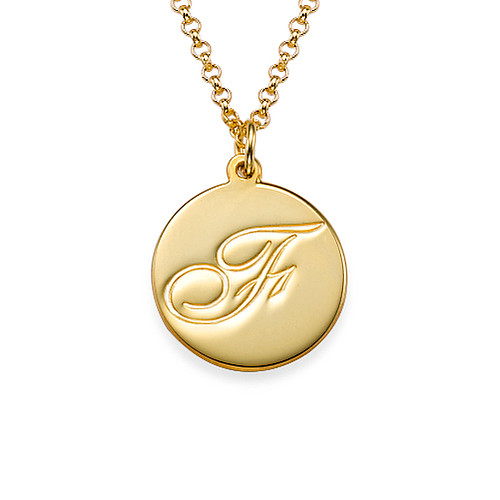 Gold Plated Initial Pendant with Script Font