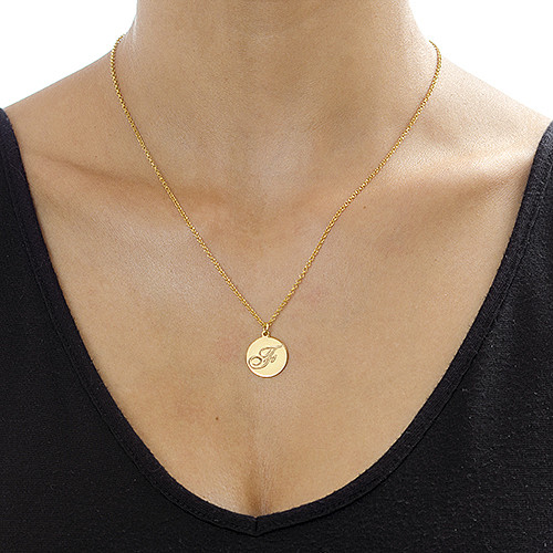 Gold Plated Initial Pendant with Script Font - 1