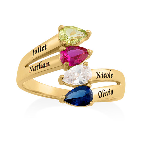 Gold Plated Mothers Ring with Four Birthstones - 1