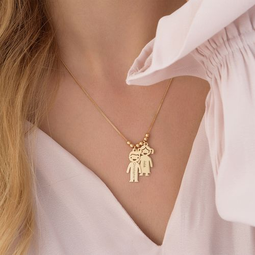 Gold Plated Mum Necklace with Engraved Kids Charms - 5