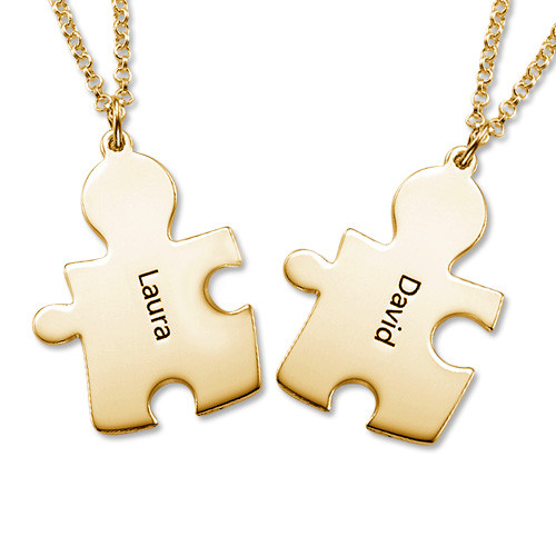 Gold Plated Personalised Couple's Puzzle Necklace