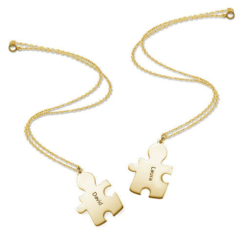 Gold Plated Personalised Couple's Puzzle Necklace - 3