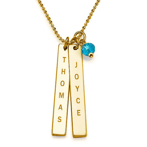 Gold Plating Customised Name Tag Necklace - 1