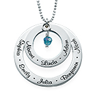 Grandma Birthstone Necklace in Silver