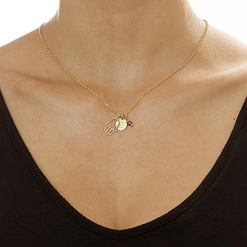 Hamsa Charm on an Initial Necklace - 1