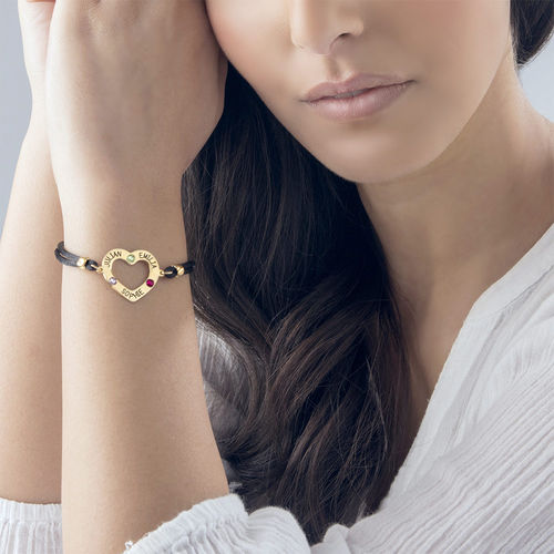 Heart Bracelet with Birthstones - 18ct Gold Plating - 2