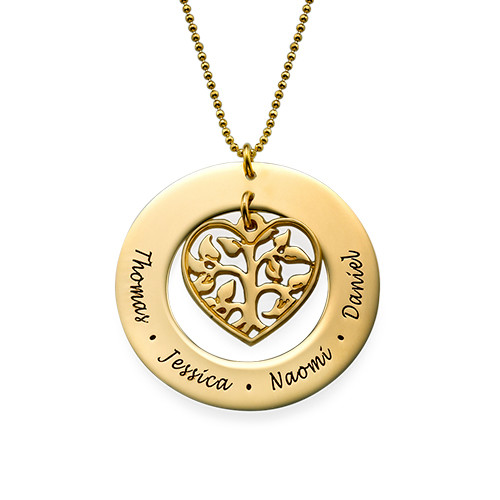 Heart Family Tree Necklace in 10ct Gold