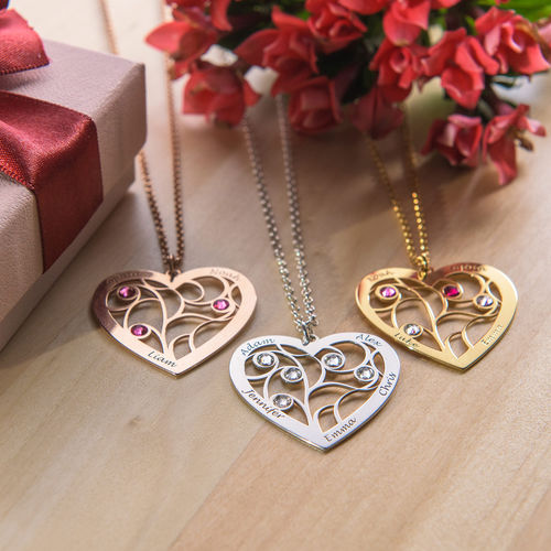 Heart Family Tree Necklace with birthstones in Rose Gold Plating - 3
