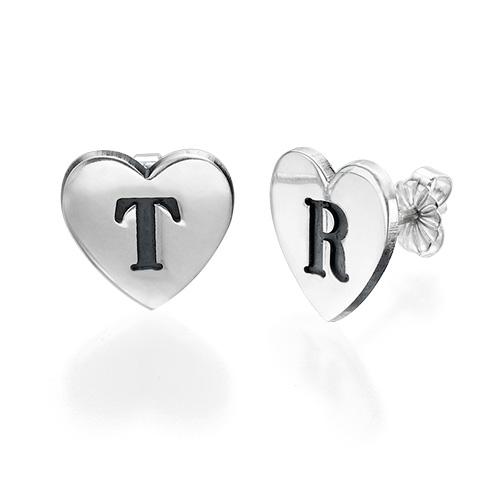 Heart Initial Earrings