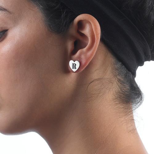 Heart Initial Earrings - 2