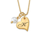 Heart Initial Necklace with pearl  in Gold Plating