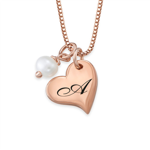 Heart Initial Necklace with pearl  in Rose Gold Plating