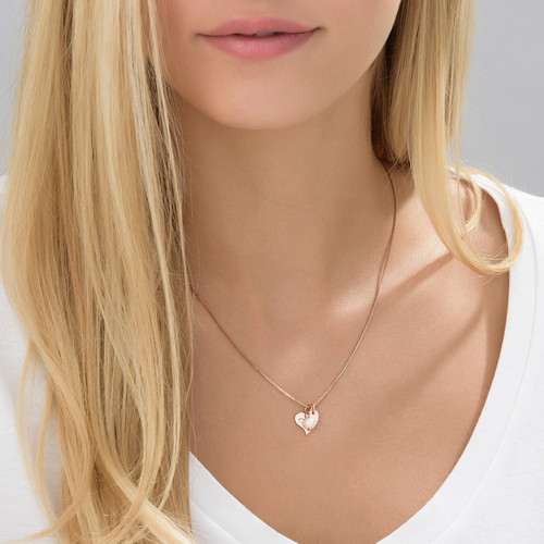 Heart Initial Necklace with pearl  in Rose Gold Plating - 3