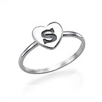 Heart Initial Ring in Sterling Silver