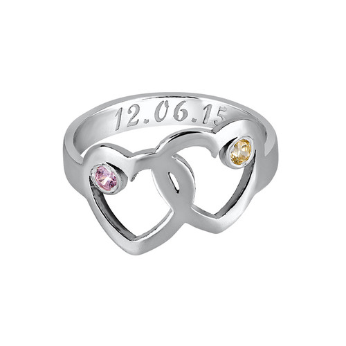 Heart Mother's Ring with Birthstones - 1