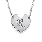 Heart Necklace with Initial Print Font