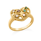 Heart Shaped Birthstone Ring with Gold Plating