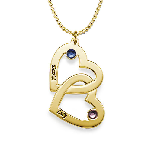Heart in Heart Necklace with Birthstones