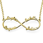 Infinity necklace with multiple names with gold plating
