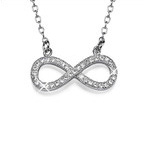 Infinity Necklace in Silver with Cubic Zirconia