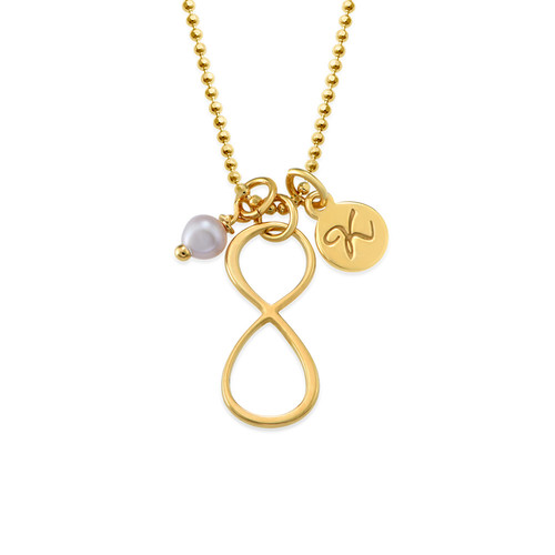 Infinity Necklace with Initial charm in Gold Plating