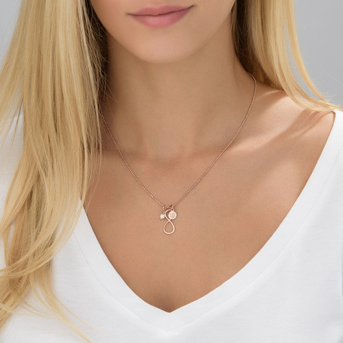 Infinity Necklace with Initial charm in Rose Gold Plating - 3