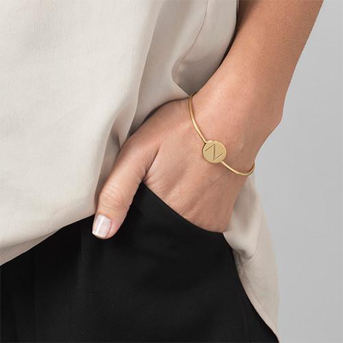 Initial Bangle Bracelet - 18ct Gold Plated - Adjustable - 2