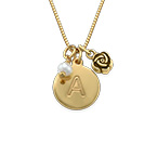 Initial Circle Necklace with pearl and rose charm in Gold Plating