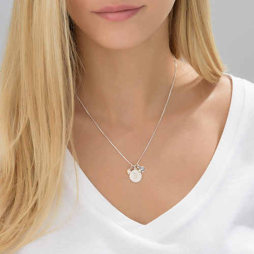 Initial Circle Necklace with pearl and rose charm in Silver - 3