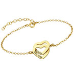 Interlocking Hearts Bracelet with 18ct Gold Plating