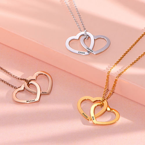 Interlocking Hearts Necklace with 18ct Rose Gold Plating - 2