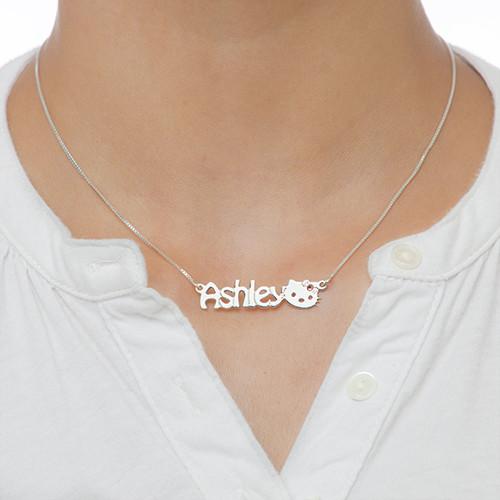 Kitten Nameplate Necklace for Girls - 1