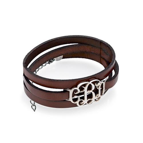 Leather Bracelet with Monogram Pendant - 1