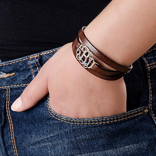 Leather Bracelet with Monogram Pendant - 2