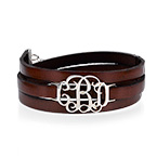 Leather Bracelet with Monogram Pendant