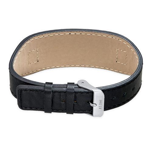 Men's ID Bracelet in Black Leather - 2